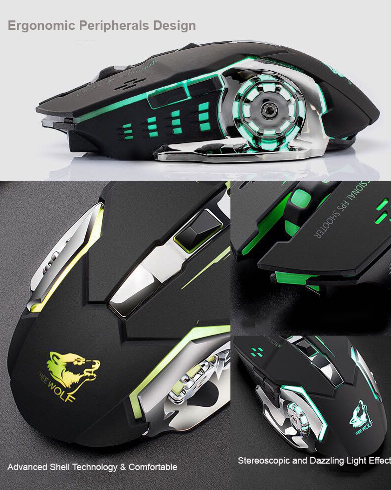 FREEWOLF K8 Rechargeable Wireless Optical Mouse