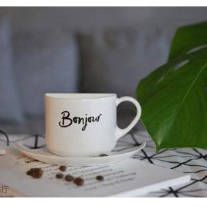 Veilleuse Led Lampe Murale Tasse à Café Bonjour Et Merci Portable Night Light Coffee Cup Led Sensor Lamp Home Decor