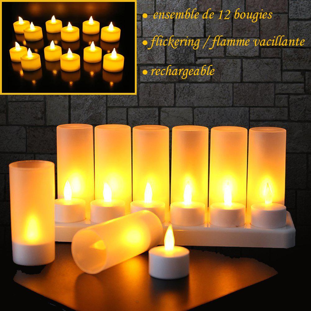 12 Bougies Rechargeables Del Avec Flammes Vacillantes Ambre Circuits Flickering Candle Home
